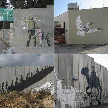Niña <i>cacheando</i> a soldado israelí (arriba, izquierda) en el campo de refugiados de Dheisheh, y paloma con chaleco antibalas sobre un muro perforado por proyectiles (arriba, derecha), ambos de Banksy. Escalera mecánica (abajo, izquierda) y camello (derecha), por el español Sam3.