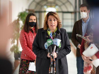 La secretaria general del PSOE andaluz Susana Díaz, este viernes en Sevilla.