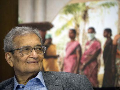 Amartya Sen, economista y filósofo que ha ganado el Premio Princesa de Asturias de Ciencias Sociales, en 2015 en la Universidad de Harvard (Estados Unidos).