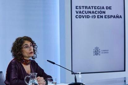 La ministra portavoz y de Hacienda, María Jesús Montero, comparece este miércoles tras el Consejo de Ministros.