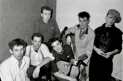 From left to right the members of The Pogues Shane MacGowan, Cait O'Riordan, Andrew Rankin, Jem Finer, Spider Stacy and James Fearnley in 1984.