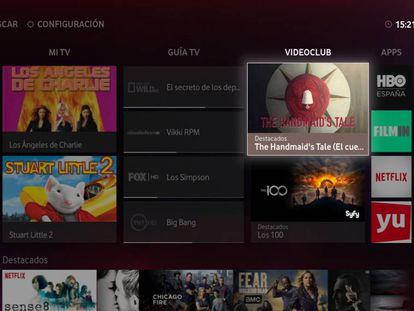 Pantalla con la parrilla de Vodafone TV