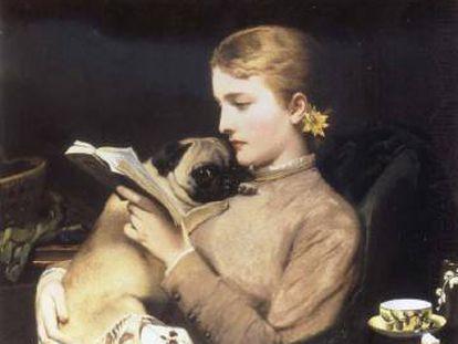 'Muchacha leyendo con doguillo', de Charles Burton Barber.