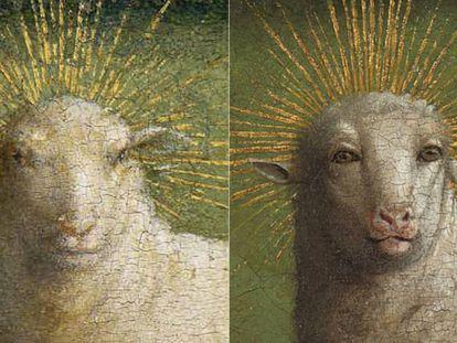 El antes y el después del cordero de Van Eyck.
