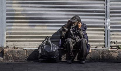Un indigente, en el centro de la Ciudad de México.
