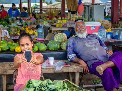 Un mercado de Samoa, el país insular que se ha declarado libre de coronavirus.