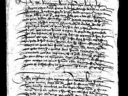 Relato de Martín Ayamonte, grumete de la 'Victoria', ante las autoridades portuguesas.