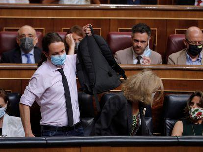 El vicepresidente segundo y líder de Podemos, Pablo Iglesias, en el Congreso el pasado julio.