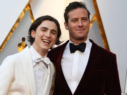 Timothee Chalamet y Armie Hammer en la gala de los Oscar 2018.