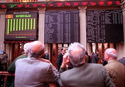 La Bolsa de Madrid, en un día de descenso en las cotizaciones.