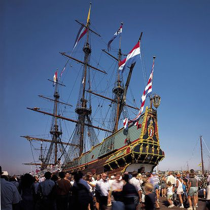 Reconstrucción del <i>Batavia,</i> de la Compañía Holandesa de las Indias Orientales.