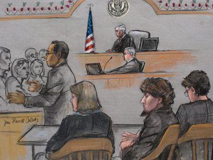Escena del juicio a Tsarnaev, segundo por la derecha.
