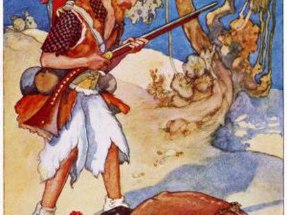 Ilustración de A. E. Jackson de 'Robinson Crusoe', de Daniel Defoe.