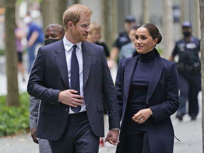 Los duques de Sussex, Enrique y Meghan, el 23 de septiembre de 2021 en Nueva York.