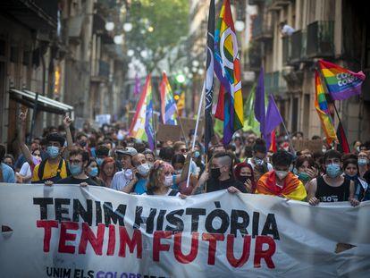 Manifestación por el Orgullo LGBTI el 27 de junio de 2020 en Barcelona.