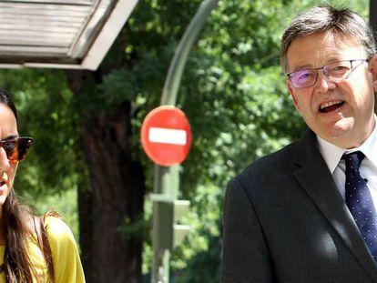 El presidente de la Comunidad Valenciana, Ximo Puig, a su llegada a Ferraz.