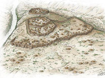 Reconstrucción de la necrópolis y poblado de Los Millares (los tres espacios amurallados interiores), de Iñaki Dieguez Uribeondo.