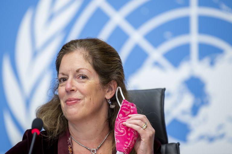 Stephanie Williams, representante de la ONU en Libia, durante la conferencia de prensa celebrada en Ginebra este miércoles, donde anunció los acuerdos alcanzados por las partes rivales libias.