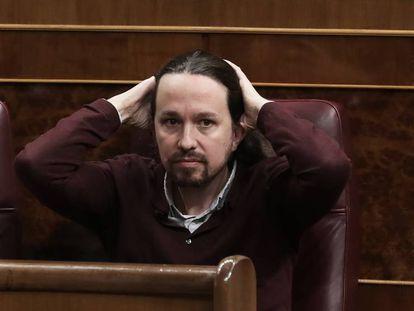 El líder de Unidas Podemos, Pablo Iglesias, en su escaño en el Congreso de los Diputados el pasado 3 de diciembre. En vídeo, declaraciones de Sofía Castañón, secretaria de Feminismos de Podemos.