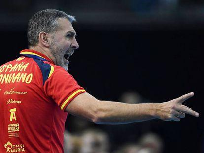 Carlos Viver, en un partido de la selección española.