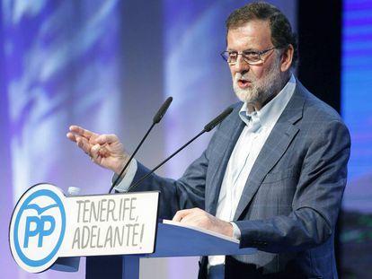 Mariano Rajoy, en Santa Cruz de Tenerife.