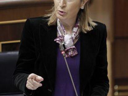 La ministra de Fomento, Ana Pastor, durante una de sus intervenciones en la sesión de control al Ejecutivo.