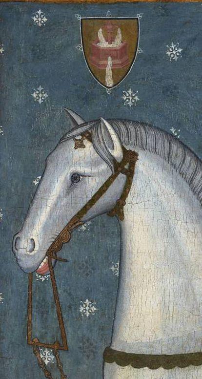 Detalle de la cabeza del caballo y del escudo de la obra 'San Martín y el mendigo' de Jaume y Pere Serra (finales siglo XIV).