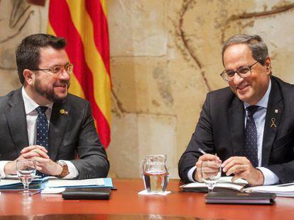 El presidente de la Generalitat, Quim Torra, y el vicepresidente Aragonès.