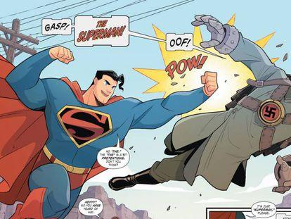 El detalle de una viñeta de 'Superman smash the Klan'.