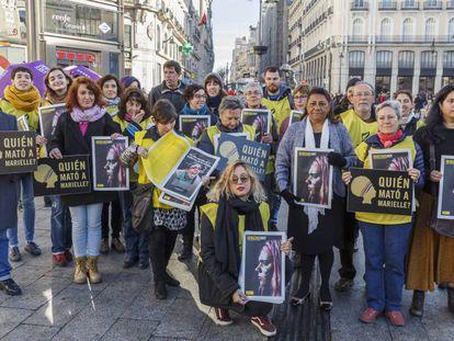 Concentración por Marielle Franco en la Puerta del Sol, en Madrid.