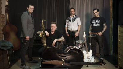 Los miembros de Los Mambo Jambo: Ivan Kovacevic, Dani Nel·lo, Anton Jarl y Mario Cobo.