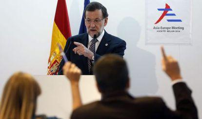 Mariano Rajoy, durante la rueda de prensa en Milán (Italia).