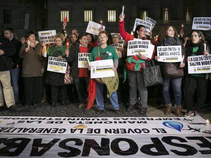 Manifestación contra la pobreza energética en Barcelona