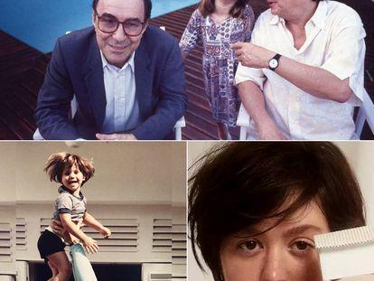 La cantante Maria Luiza Jobim, en la infancia, entre João Gilberto y su padre, Tom Jobim. Abajo, a la izquierda, jugando con su padre en casa. A la derecha, imagen de su primer álbum en solitario, 'Casa branca'.