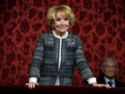 La expresidenta de la Comunidad de Madrid, Esperanza Aguirre, en la tribuna del Senado a principios de diciembre en el acto de constitución de la Cámara en la XIV Legislatura.