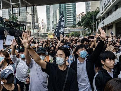Los manifestantes reclaman más democracia en Hong Kong el pasado 9 de octubre.