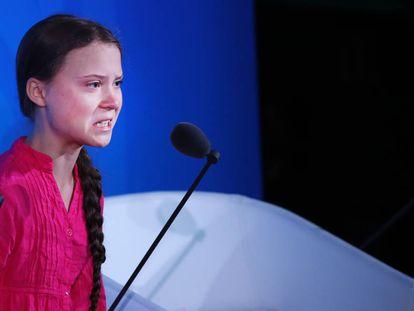 Greta Thunberg conteniendo las lágrimas al hablar en la Cumbre de Acción Climática 2019 que se celebró antes del debate general en la Asamblea General de las Naciones Unidas. Fue el 23 de septiembre de 2019 en Nueva York.