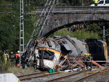 Accidente de tren en O Porriño (Pontevedra) en septiembre de 2016.