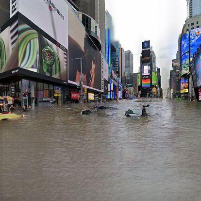 Simulación de la plaza de Times Square de Nueva York inundada. Un algoritmo ha llenado de agua una foto tomada de Google Street View.