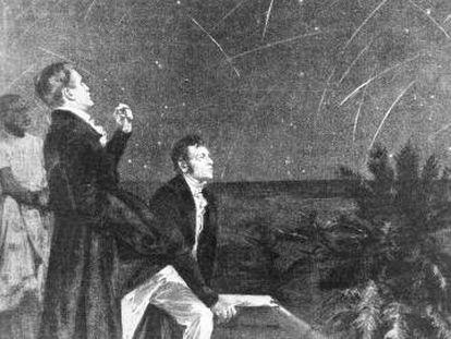 Humboldt y Bonpland, ante una lluvia de meteoros en Sudamérica en 1799.