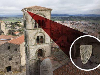 El escudo del Athletic Club en uno de los 52 capiteles de la Torre Julia, el campanario de la iglesia románica de Santa María la Mayor de Trujillo.