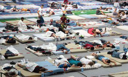Refugiados en un pabellón deportivo al sur de Alemania, el 11 de agosto.