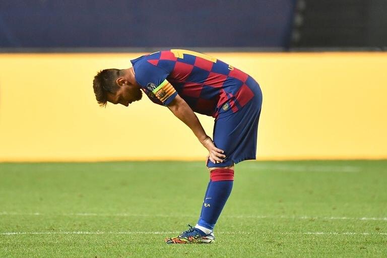 Messi, durante el partido de cuartos de final de la Champions ante el Bayrern.