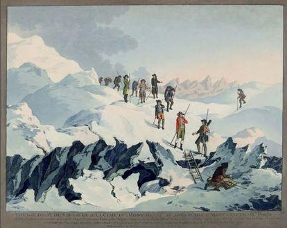 Viaje de Saussure a la cima del Mont Blanc, obra de Marquard Wocher.