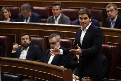 Albert Rivera, durante una intervención en el Congreso de los Diputados.