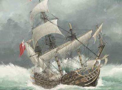 Representación moderna del <b>naufragio del </b><i>HMS Sussex</i> pintado por John Batchelor.