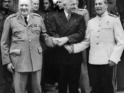 Churchill, Truman y Stalin en Alemania (1945.)