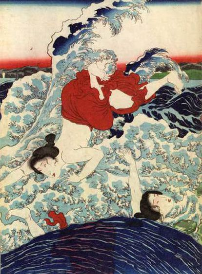 Grabado japonés del siglo  XIX.