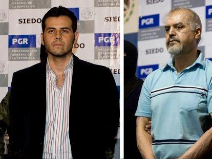Vicente Zambada (izquierda), tras su arresto en México en 2014, y Eduardo Arellano Félix (derecha), en 2008.