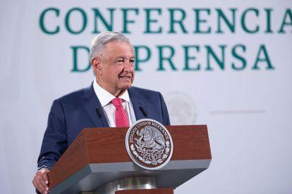 López Obrador, durante una rueda de prensa mañanera en el Palacio Nacional
